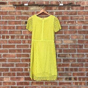Lands End Chartreuse Lace Sheath Dress